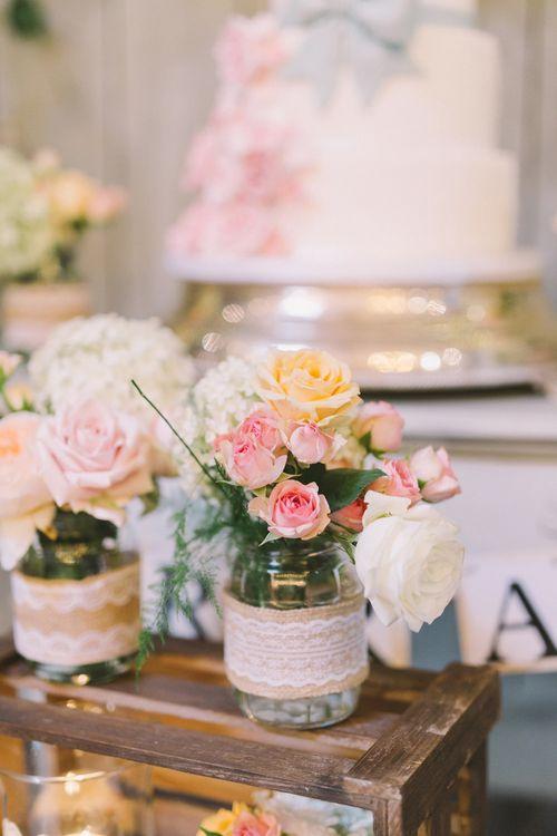 DIY Jars Filled with Pastel Flowers