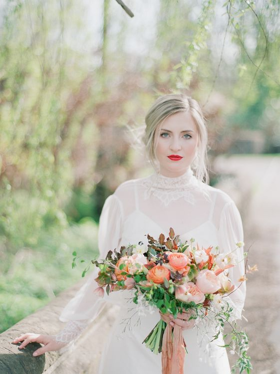 Sky Blue & Coral Wedding Inspiration For An Elegant Shoot In A Glasshouse At The Bombay Sapphire Distillery With Images From Julie Michaelsen Photography