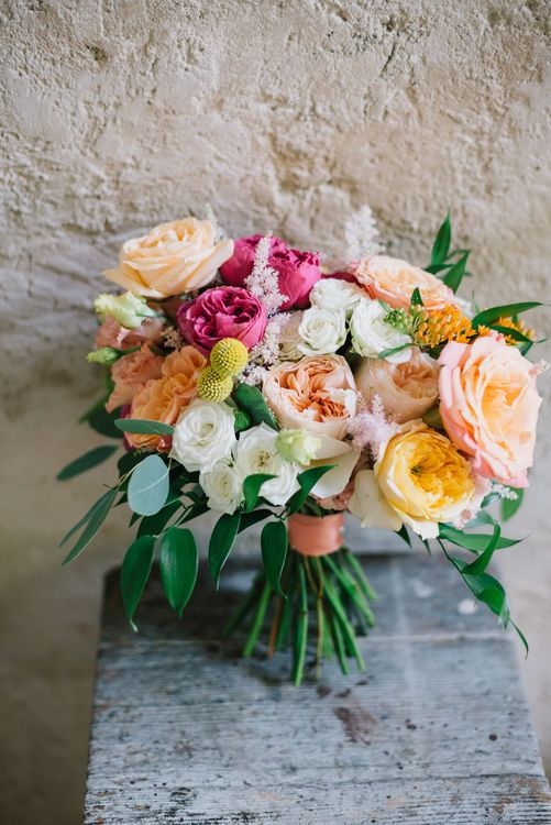 Bright Bridal Bouquet with David Austin Roses
