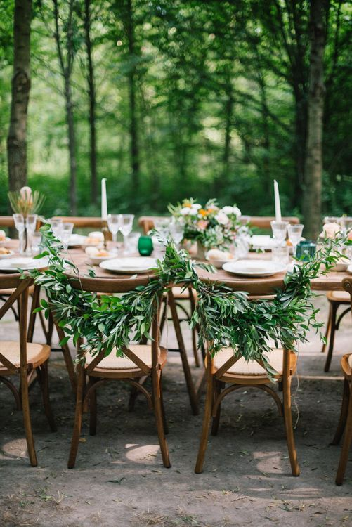 Greenery Chair Backs | Bright Woodland Wedding in Italy Planned & Styled by Le Jour du Oui | Infraordinario Wedding Photography | Mani Films