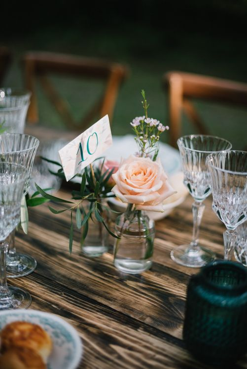 Flower Stems in Jam Jars | Bright Woodland Wedding in Italy Planned & Styled by Le Jour du Oui | Infraordinario Wedding Photography | Mani Films