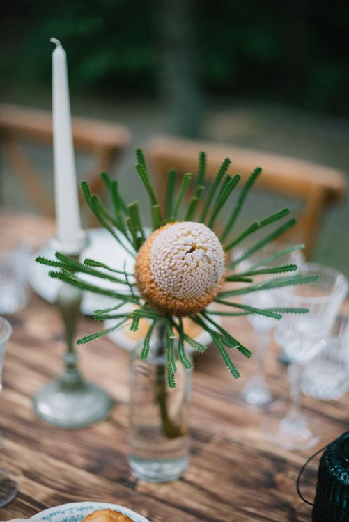 Flower Stem in Jam Jar | Bright Woodland Wedding in Italy Planned & Styled by Le Jour du Oui | Infraordinario Wedding Photography | Mani Films