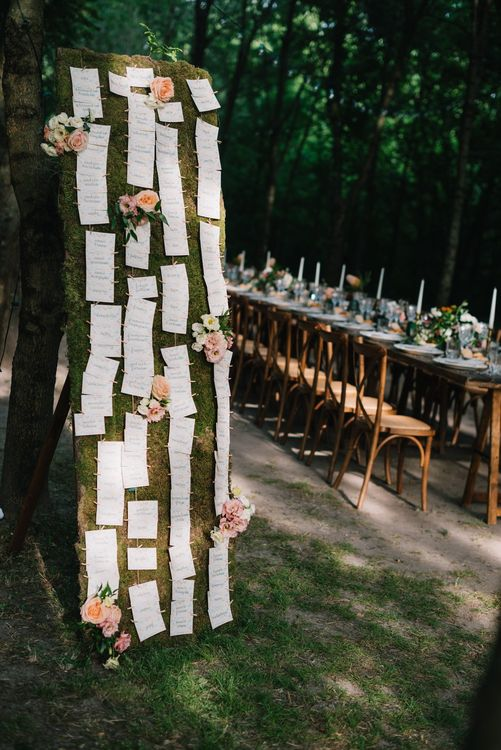 Escort Card Seating Chart | Bright Woodland Wedding in Italy Planned & Styled by Le Jour du Oui | Infraordinario Wedding Photography | Mani Films