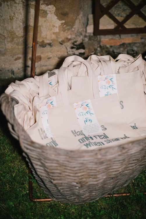 Personalised Tote Bag Wedding Favours | Bright Woodland Wedding in Italy Planned & Styled by Le Jour du Oui | Infraordinario Wedding Photography | Mani Films