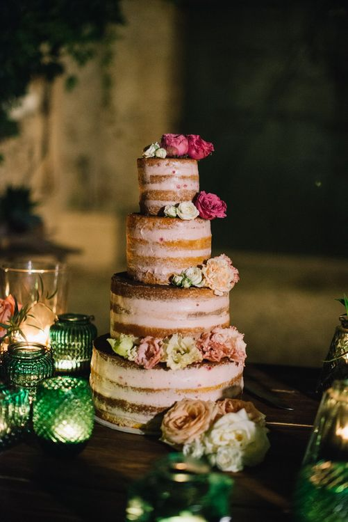 Naked Wedding Cake with Flower Decor | Bright Woodland Wedding in Italy Planned & Styled by Le Jour du Oui | Infraordinario Wedding Photography | Mani Films