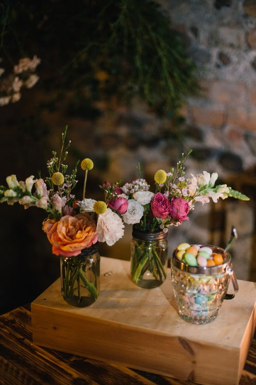 Colourful Flowers in Jam Jars | Bright Woodland Wedding in Italy Planned & Styled by Le Jour du Oui | Infraordinario Wedding Photography | Mani Films
