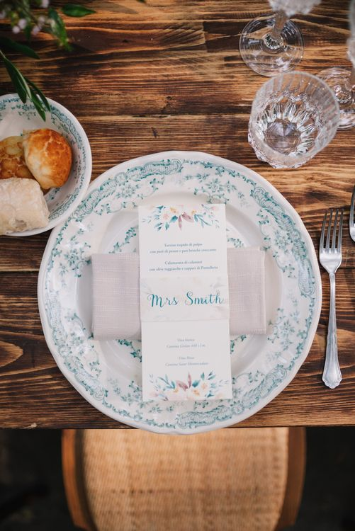 Floral Crockery and Wedding Stationery | Bright Woodland Wedding in Italy Planned & Styled by Le Jour du Oui | Infraordinario Wedding Photography | Mani Films