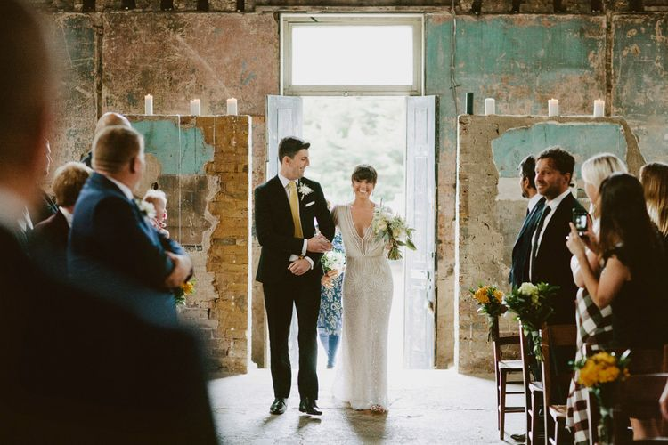 Wedding Ceremony at The Asylum, Peckham | Bride in Preowned Lace Inbal Dror Wedding Dress | David Jenkins Photography