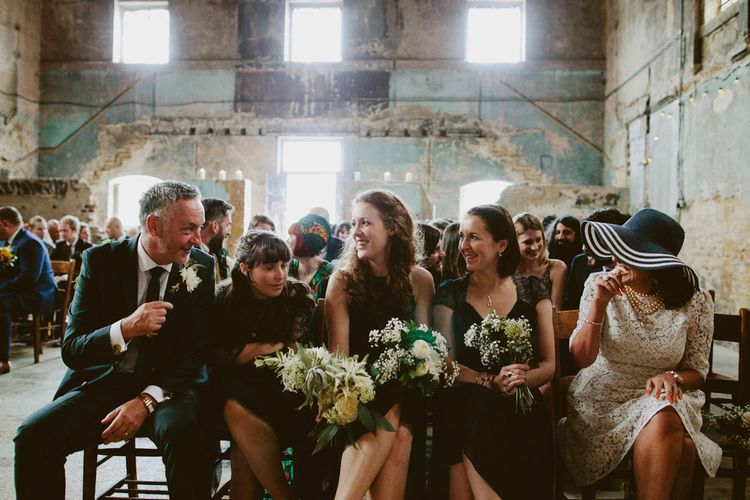 Bridesmaids in Different Navy Dresses | Wedding Ceremony at The Asylum, Peckham | David Jenkins Photography