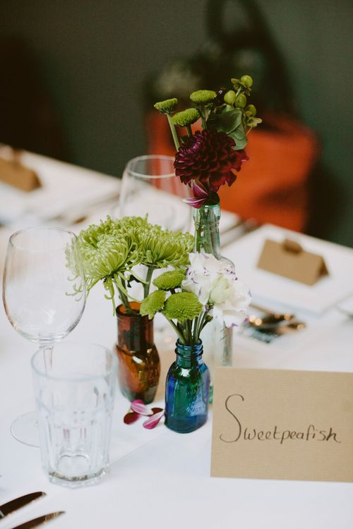 Flower Stems in Vases | Londesborough Pub Wedding Reception | David Jenkins Photography