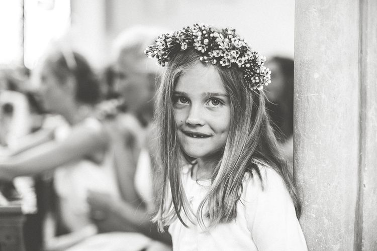 Adorable Flower Girl With Wax Flower Crown