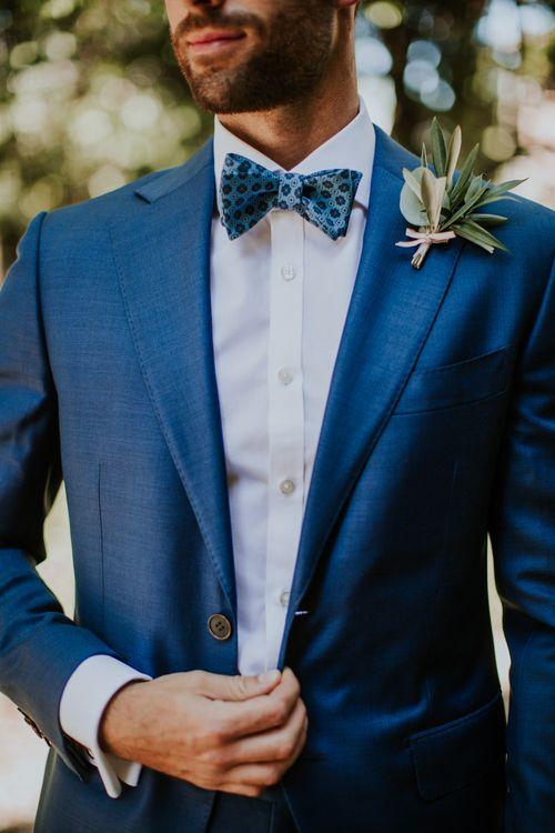 Groom in Light Blue Suit Supply Suit & Bow Tie   D&A Photography   Ben Walton Films