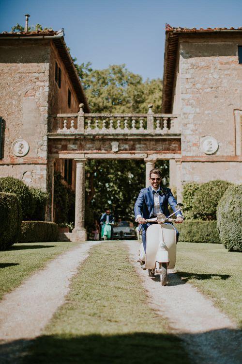 Vespa   Groom in Light Blue Suit Supply Suit & Bow Tie   D&A Photography   Ben Walton Films