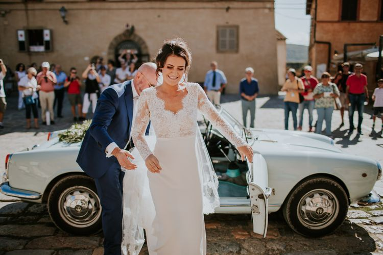 Bridal Entrance in Long Lace Sleeve Gown from Morgan Davies   D&A Photography   Ben Walton Films