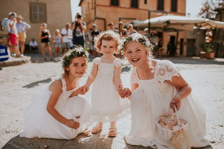Flower Girls in Tea Princess Dresses   D&A Photography   Ben Walton Films
