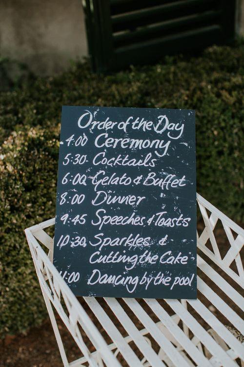 Chalkboard Wedding Sign   Tuscan Wedding Planned by Romeo & Juliet Weddings   D&A Photography   Ben Walton Films