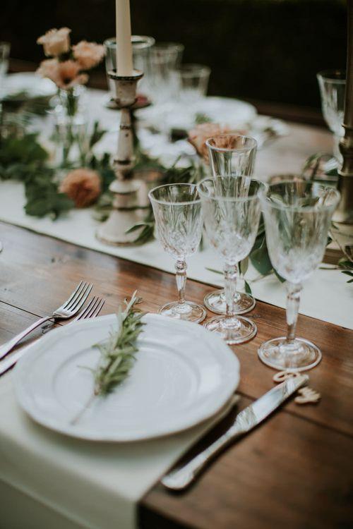 Elegant Place Setting   Tuscan Wedding Planned by Romeo & Juliet Weddings   D&A Photography   Ben Walton Films