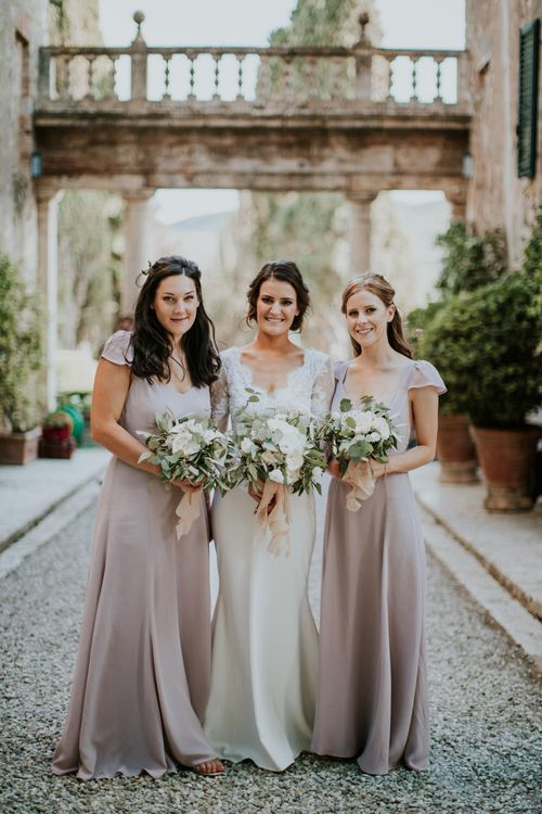 Bride in Morgan Davies Gown   Bridesmaids in Blush Pink Reformation Dresses   D&A Photography   Ben Walton Films