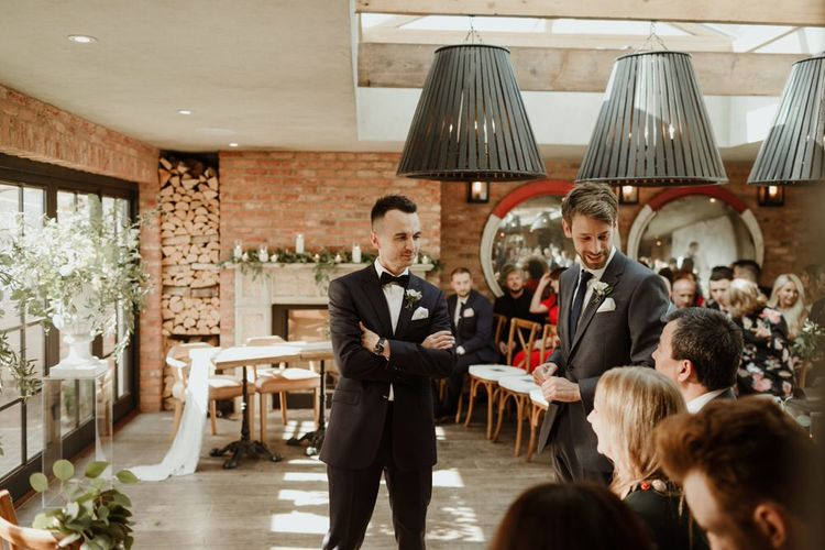 Groom In Tux Emma Beaumont Bespoke Bride For A Stylish Intimate Town House Wedding In Cheltenham With Images From The Curries & Florals Ruby And The Wolf