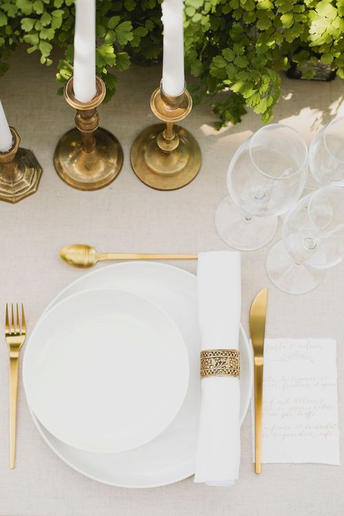 Gold Table Ware & Calligraphy Stationery | Greenery on the French Riviera | Purewhite Photography | D'amour et de deco Styling