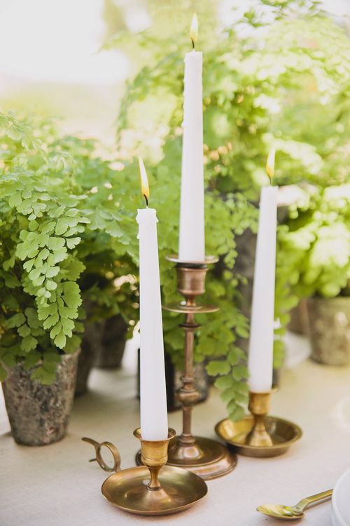 Gold Candle Sticks | Greenery on the French Riviera | Purewhite Photography | D'amour et de deco Styling