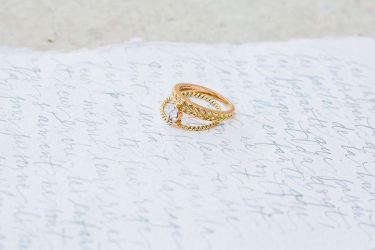Wedding Ring & Nice Plume Calligraphy Wedding Stationery Suite