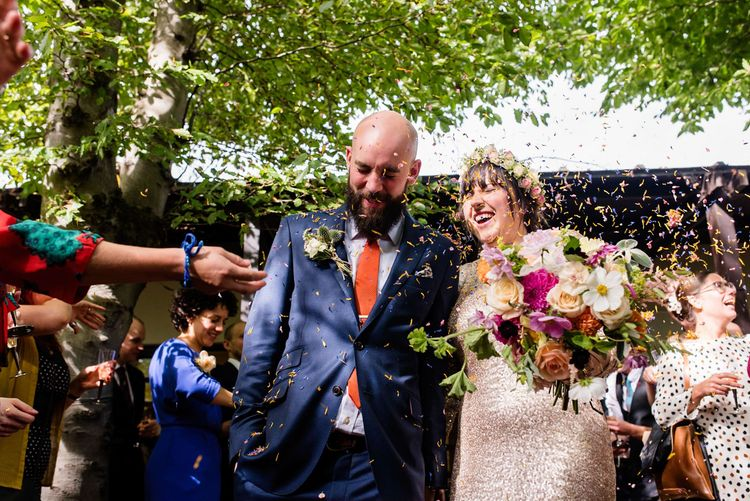 Wedding Ceremony at Vest House Museum with Bride in Pre Owned Gold Sequin Badgley Mischka Wedding Dress & Groom in Suit Supply