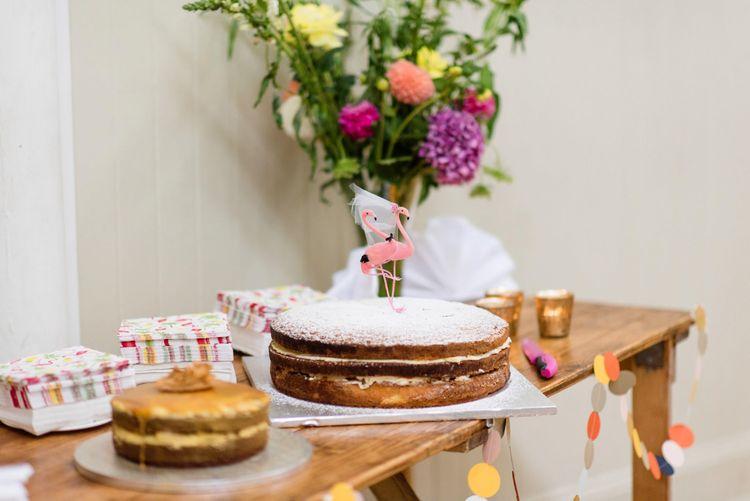Homemade Wedding Cake with Flamingo Cake Topper