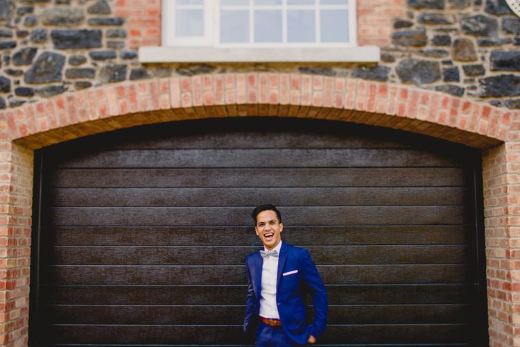 Groom in Navy H&M Wedding Suit   Navyblur Photography   Cinematic Tide Films