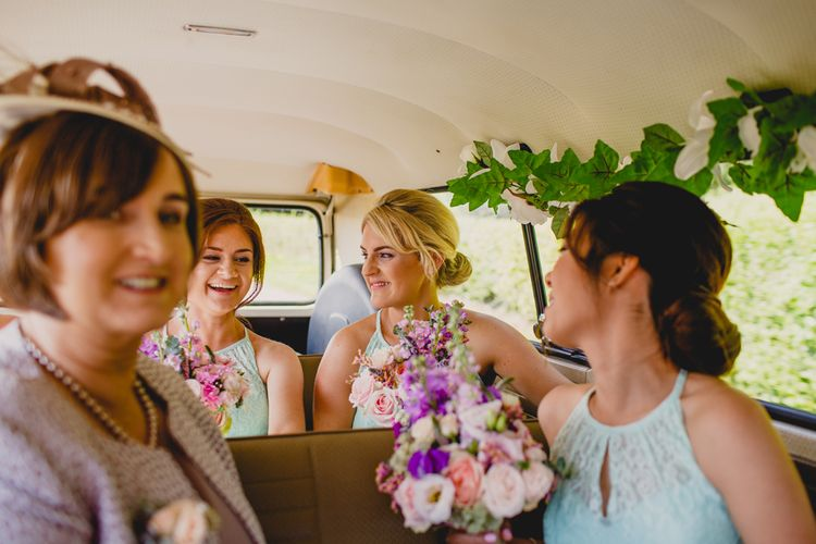 Lace Wedding Dress & Mint Bridesmaid Dresses from Vintage Rose Bridal   Navyblur Photography   Cinematic Tide Films