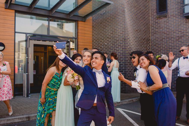 Selfie   Bride in Lace Dress   Groom in Navy Suit   Navyblur Photography   Cinematic Tide Films