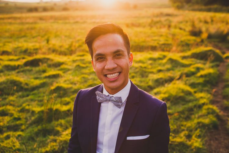 Groom in H&M Navy Blue Suit & Bow Tie   Navyblur Photography   Cinematic Tide Films