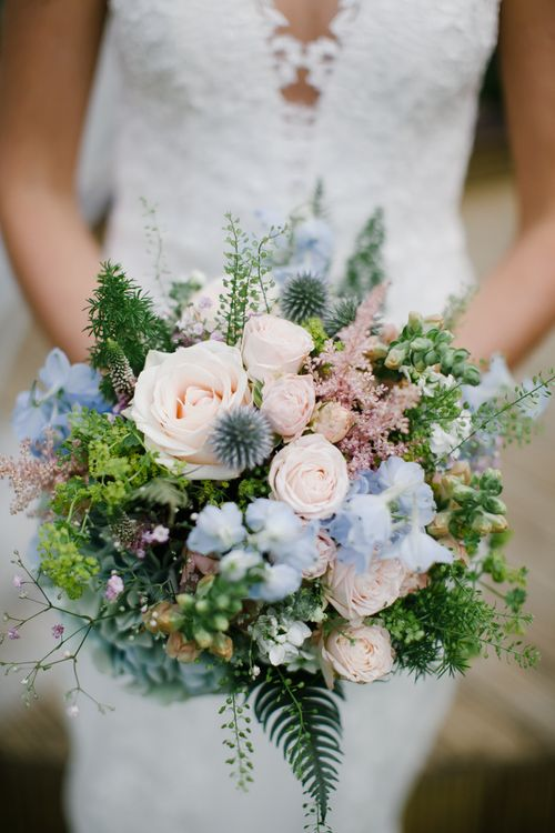 Pastel Blue & Pink Bridal Bouquet | DIY Country Pub Wedding at The Bell in Alderminster, Stratford-upon-Avon | Chris Barber Photography