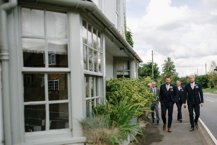 Groomsmen in Navy Suits | DIY Country Pub Wedding at The Bell in Alderminster, Stratford-upon-Avon | Chris Barber Photography