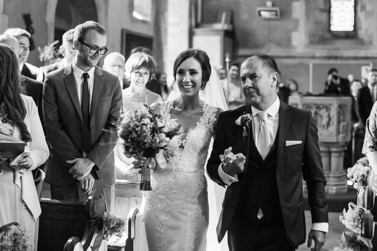 Wedding Ceremony | Bridal Entrance in Lace Sincerity Gown | DIY Country Pub Wedding at The Bell in Alderminster, Stratford-upon-Avon | Chris Barber Photography