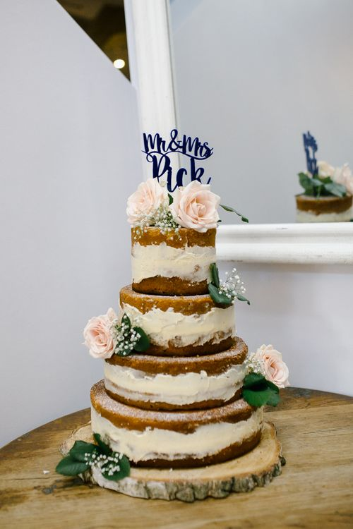 Homemade Semi Naked Wedding Cake | DIY Country Pub Wedding at The Bell in Alderminster, Stratford-upon-Avon | Chris Barber Photography