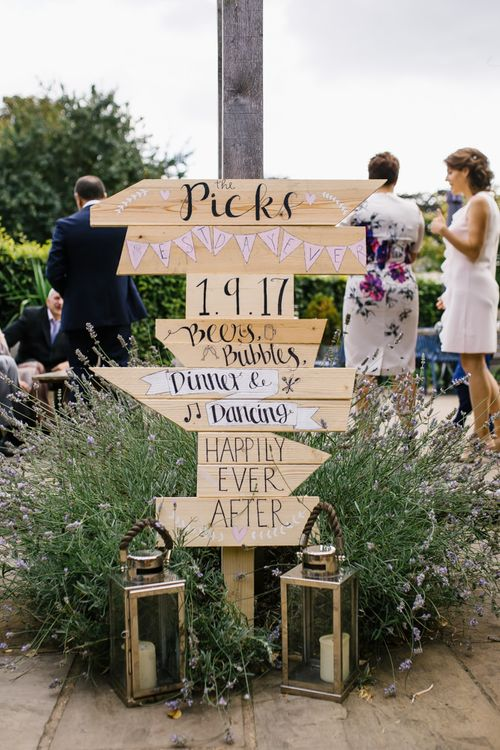 Wooden Direction Wedding Sign | DIY Country Pub Wedding at The Bell in Alderminster, Stratford-upon-Avon | Chris Barber Photography