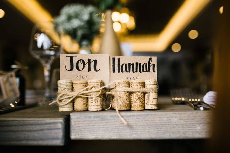 DIY Cork Place Names | DIY Country Pub Wedding at The Bell in Alderminster, Stratford-upon-Avon | Chris Barber Photography