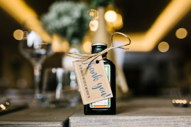 Jägermeister Wedding Favours | DIY Country Pub Wedding at The Bell in Alderminster, Stratford-upon-Avon | Chris Barber Photography