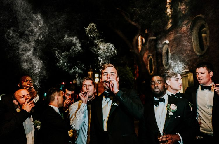 Groomsmen in Black Tuxedos | Super Luxe Greek Wedding at The Cipriani in Venice | Bridgwood Wedding Photography