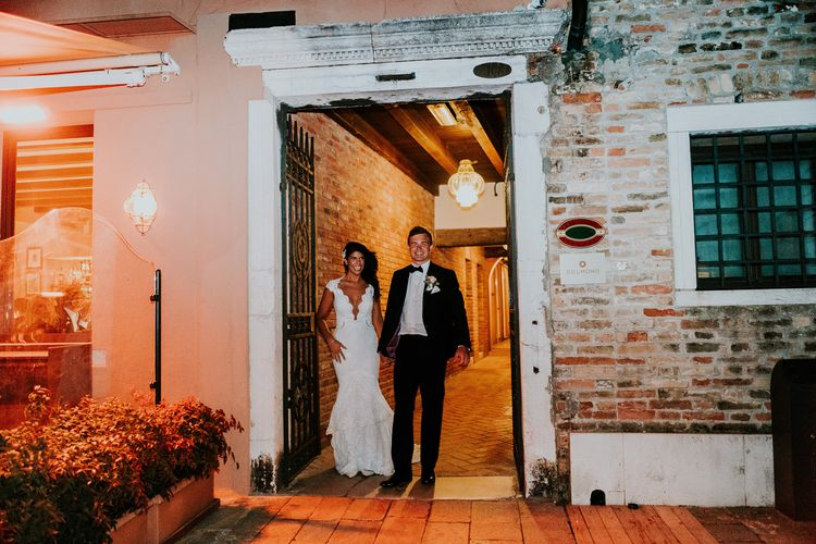 Bride in Berta Bridal Gown | Groom in Black Tuxedo | Super Luxe Greek Wedding at The Cipriani in Venice | Bridgwood Wedding Photography