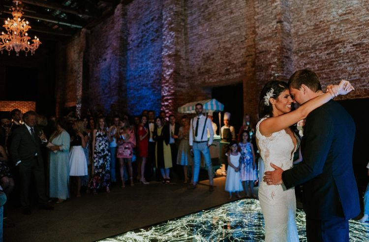 First Dance | Bride in Berta Bridal Gown | Groom in Black Tuxedo | Super Luxe Greek Wedding at The Cipriani in Venice | Bridgwood Wedding Photography