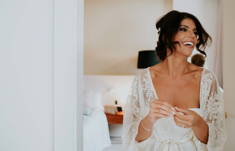 Getting Ready | Bride in Romona Keveza Gown | Super Luxe Greek Wedding at The Cipriani in Venice | Bridgwood Wedding Photography