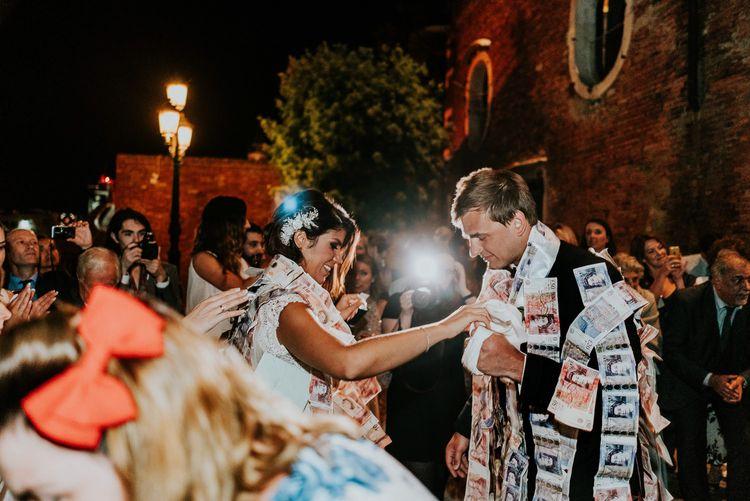 Greek Dancing | Bride in Berta Bridal Gown | Groom in Black Tuxedo | Super Luxe Greek Wedding at The Cipriani in Venice | Bridgwood Wedding Photography