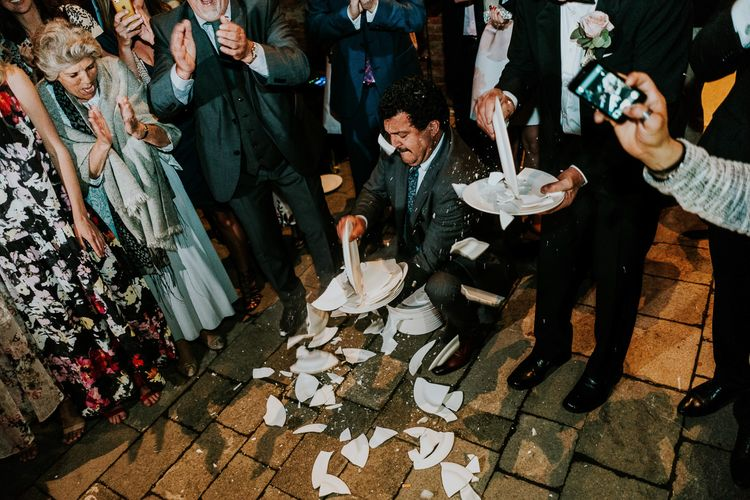 Greek Plate Smashing | Super Luxe Greek Wedding at The Cipriani in Venice | Bridgwood Wedding Photography