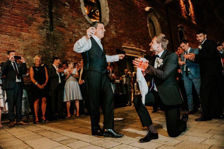 Greek Dancing | Groom in Black Tuxedo | Super Luxe Greek Wedding at The Cipriani in Venice | Bridgwood Wedding Photography