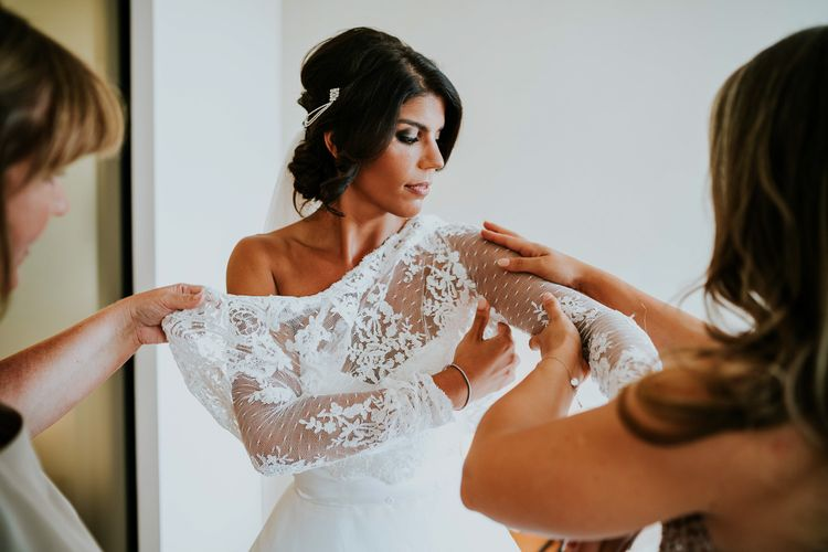 Bridal Preparations | Bride in Romona Keveza Gown | Super Luxe Greek Wedding at The Cipriani in Venice | Bridgwood Wedding Photography