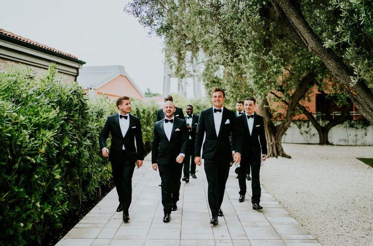 Groomsmen in Black Tie | Super Luxe Greek Wedding at The Cipriani in Venice | Bridgwood Wedding Photography