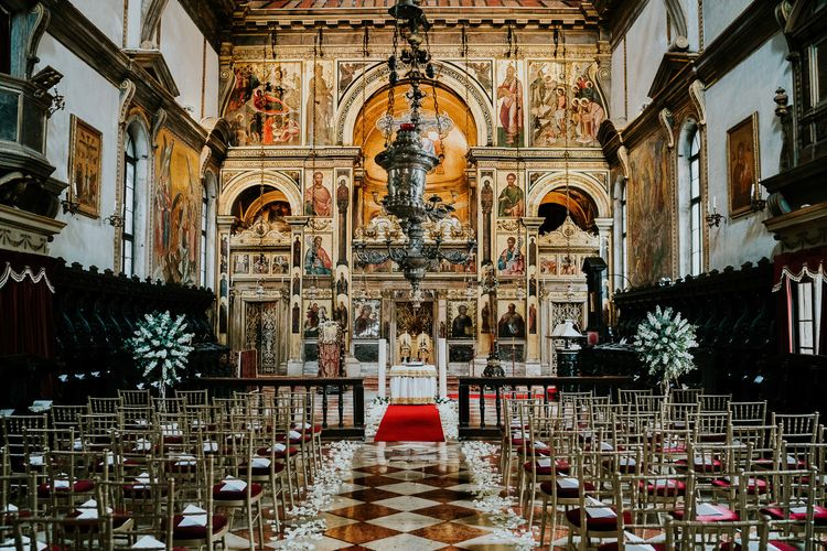 Greek Orthodox Church | Super Luxe Greek Wedding at The Cipriani in Venice | Bridgwood Wedding Photography