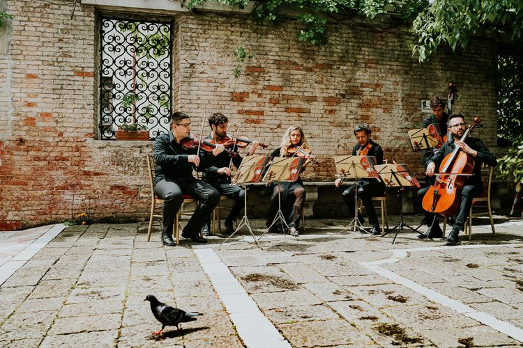 String Quartet | Super Luxe Greek Wedding at The Cipriani in Venice | Bridgwood Wedding Photography